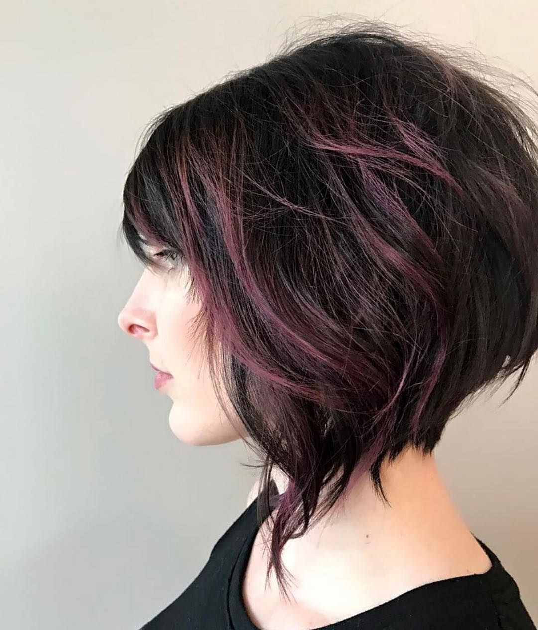Favorite Marvelous Mauve Shaggy Bob Hairstyles With We Love This Short Angled Bob And Dark Purple Balayage (View 2 of 20)
