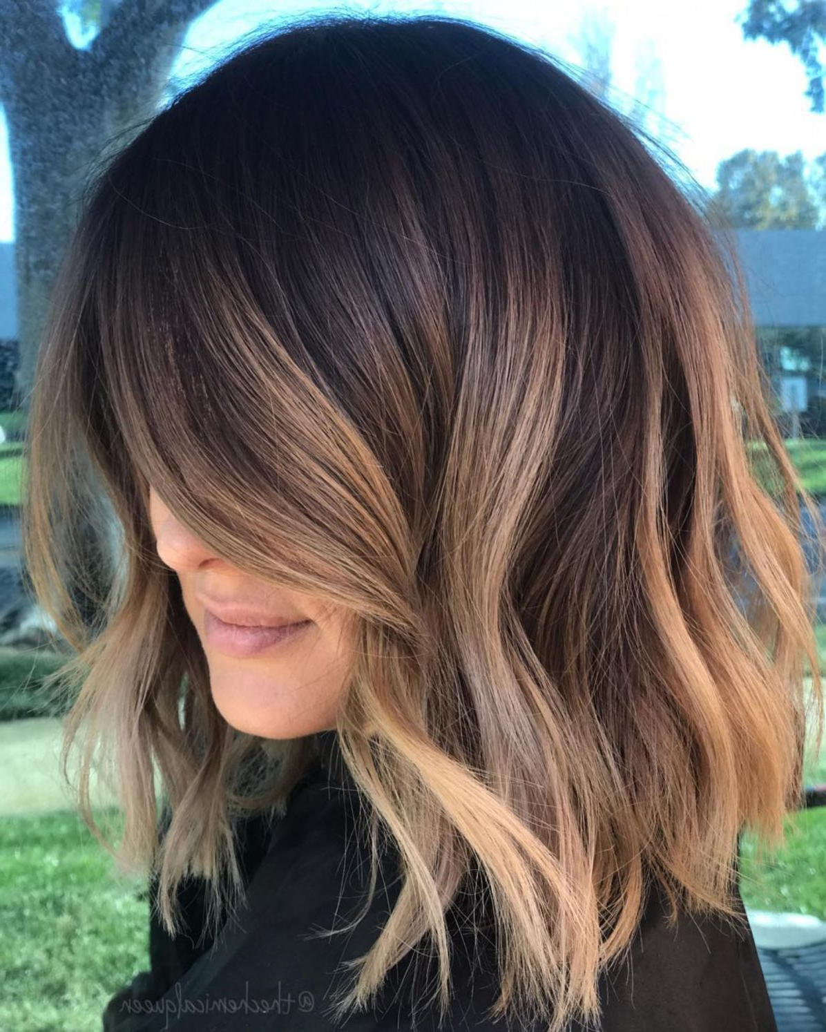 Hair Color : Short Bob Dark Brown Hair With Highlights Inside Short Bob Hairstyles With Highlights (View 13 of 20)