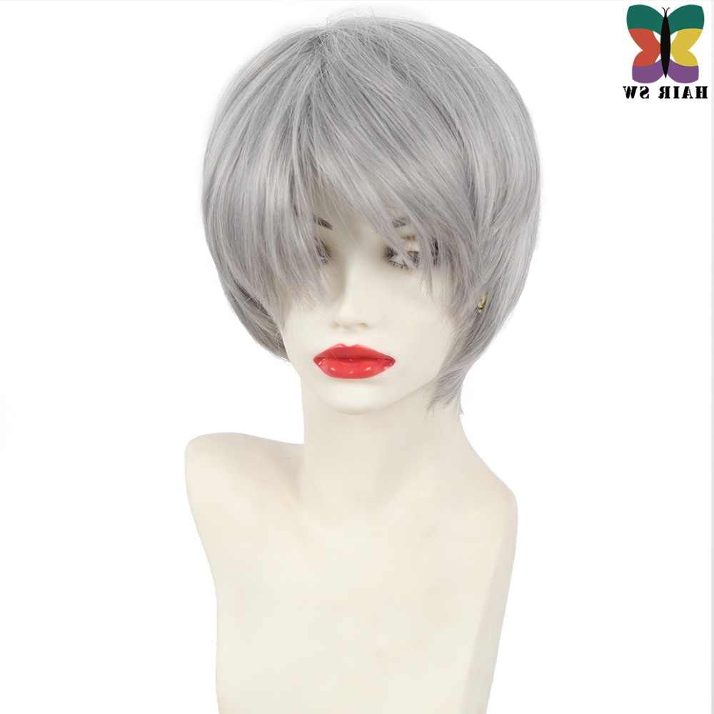 Hair Sw Short Straight Grey Synthetic Wig Haircuts Pixie In Short Shag Haircuts With Purple Highlights (View 13 of 20)