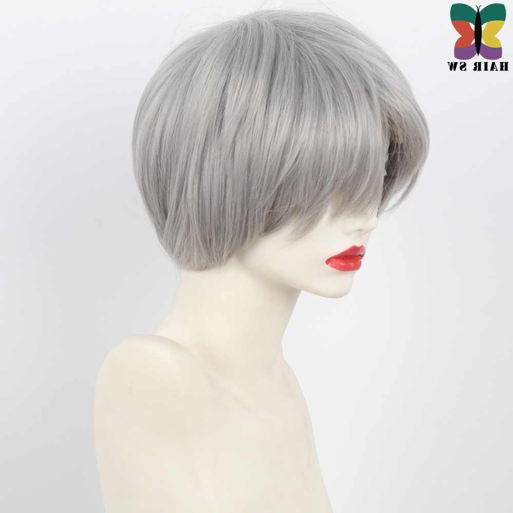 Hair Sw Short Straight Grey Synthetic Wig Haircuts Pixie Within Short Shag Haircuts With Purple Highlights (View 14 of 20)