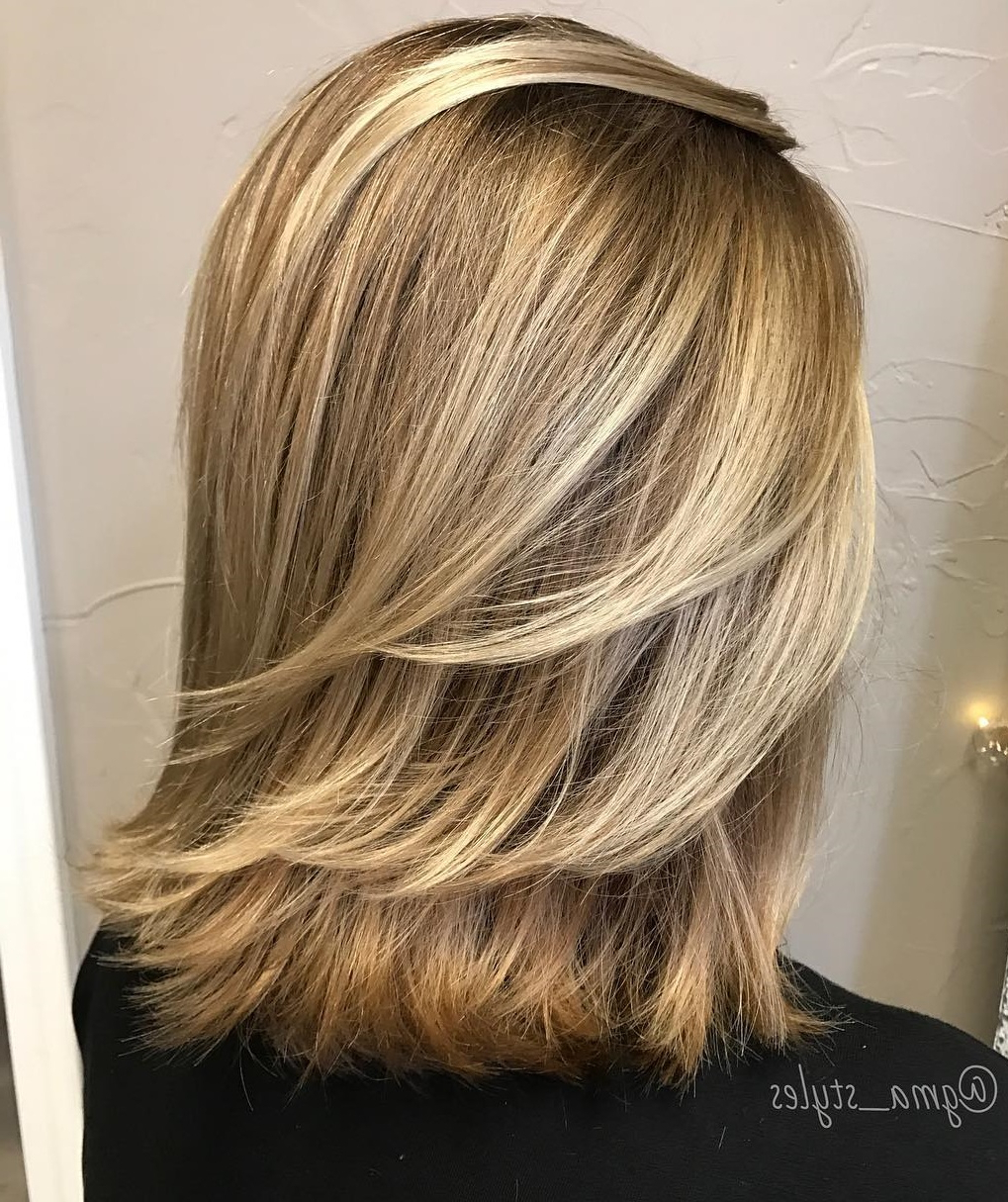 How To Pull Off Medium Length Haircuts And Hairstyles In 2019 Within Most Current Lovely Golden Blonde Haircuts With Swoopy Layers (View 8 of 20)