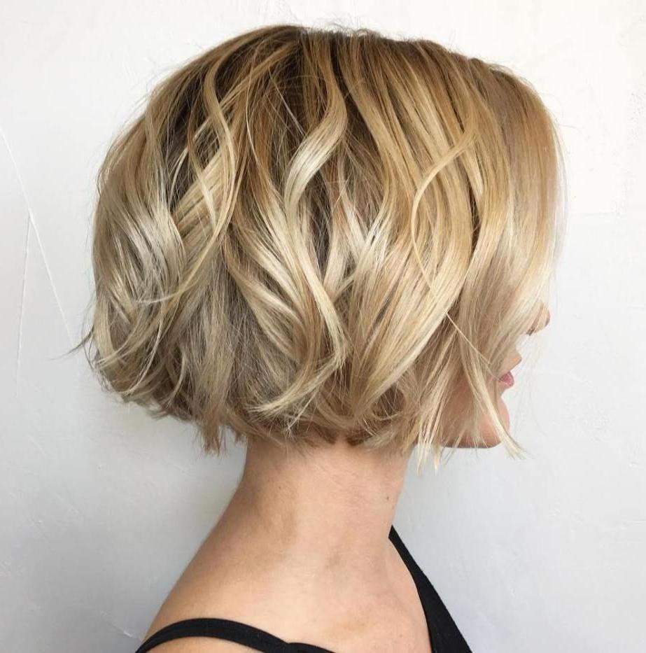 Jaw Length Wavy Blonde Bob In 2019   Wavy Bob Hairstyles Within Romantic Blonde Wavy Bob Hairstyles (View 3 of 20)