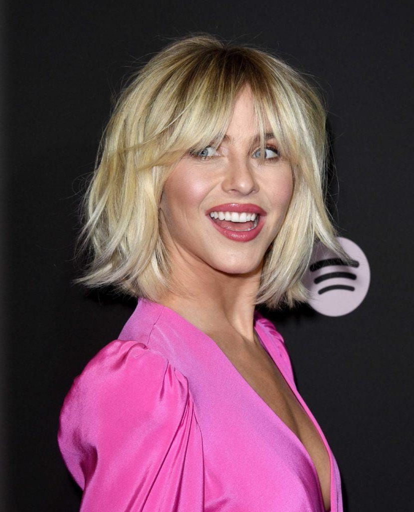 Julianne Hough On The Red Carpet With A Shaggy Golden Blonde In Shaggy Blonde Bob Hairstyles With Bangs (Gallery 9 of 20)