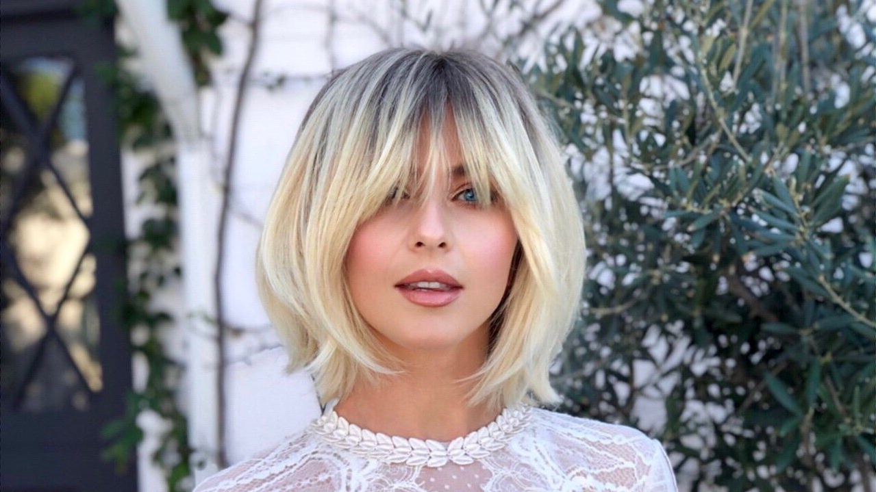 Julianne Hough Shows Off Her New Long, Shaggy Bangs | Allure With Regard To Shaggy Blonde Bob Hairstyles With Bangs (View 17 of 20)