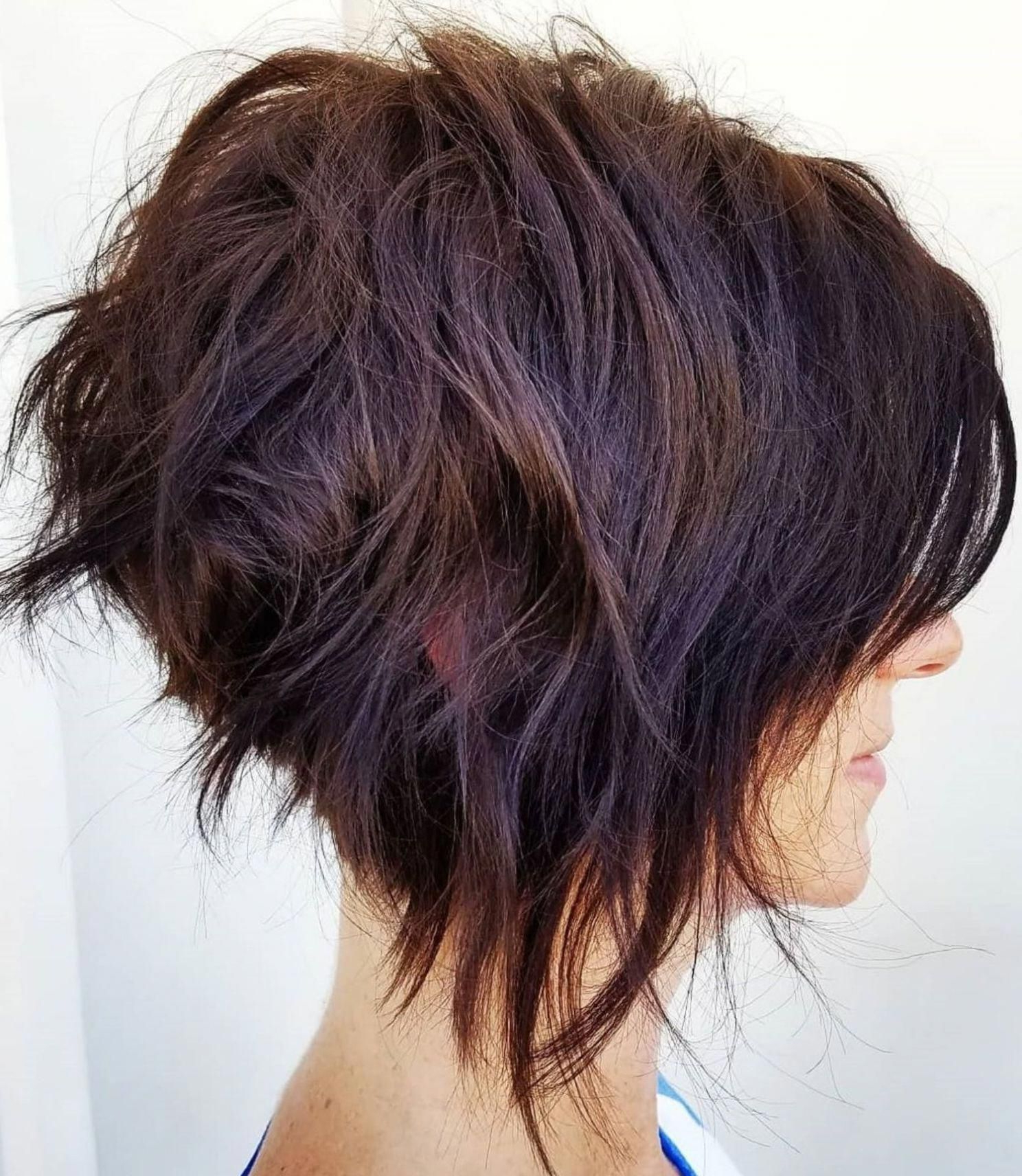 Latest Marvelous Mauve Shaggy Bob Hairstyles Throughout Uneven Tousled Burgundy Brown Bob (View 12 of 20)