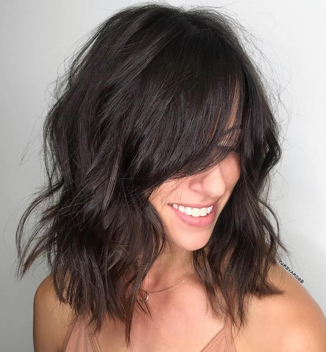 Most Current Feathered Black Shag Haircuts With Side Bangs Pertaining To How To Nail Layered Hair In 2019: Full Guide To Lengths And (View 11 of 20)