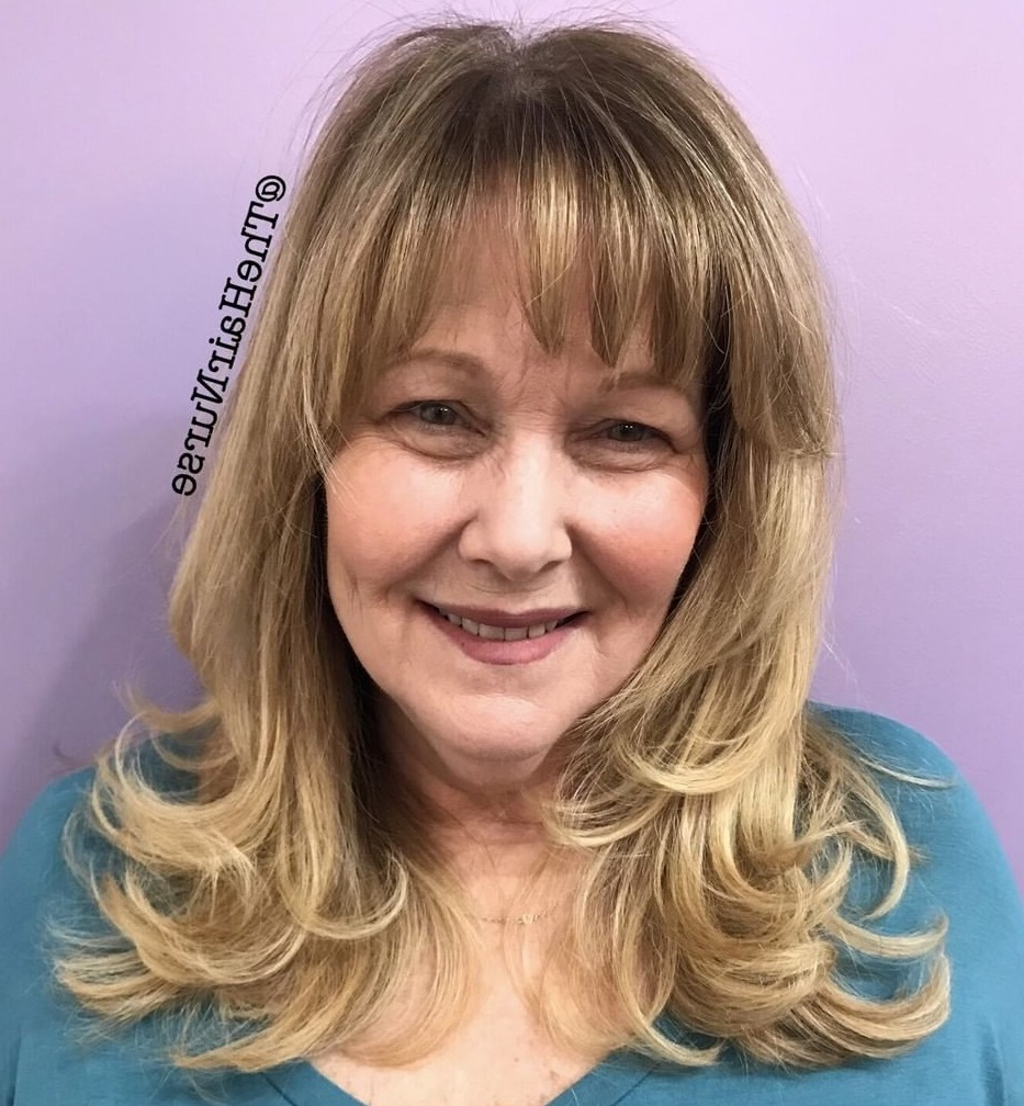 Most Current Honey Bronde Shaggy Hairstyles With Bangs With Regard To 60 Trendiest Hairstyles And Haircuts For Women Over 50 In (View 15 of 20)