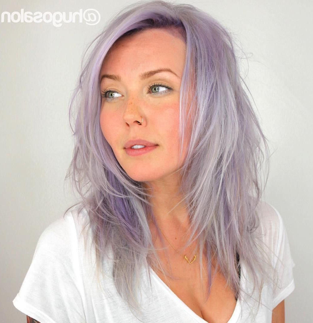 Featured Photo of Long Lavender Layers Shaggy Haircuts