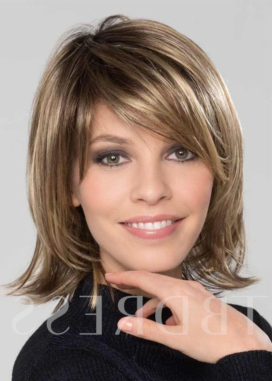 Most Current Vibrant Feathered Look Medium Shag Hairstyles Inside Bob Medium Hairstyles Women's Sweet Shaggy Straight (View 18 of 20)