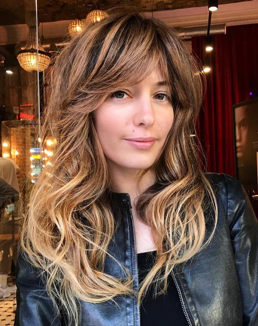 Most Popular Disconnected Brown Shag Long Hairstyles With Highlights For The Most Instagrammable Hairstyles With Bangs In (View 16 of 20)