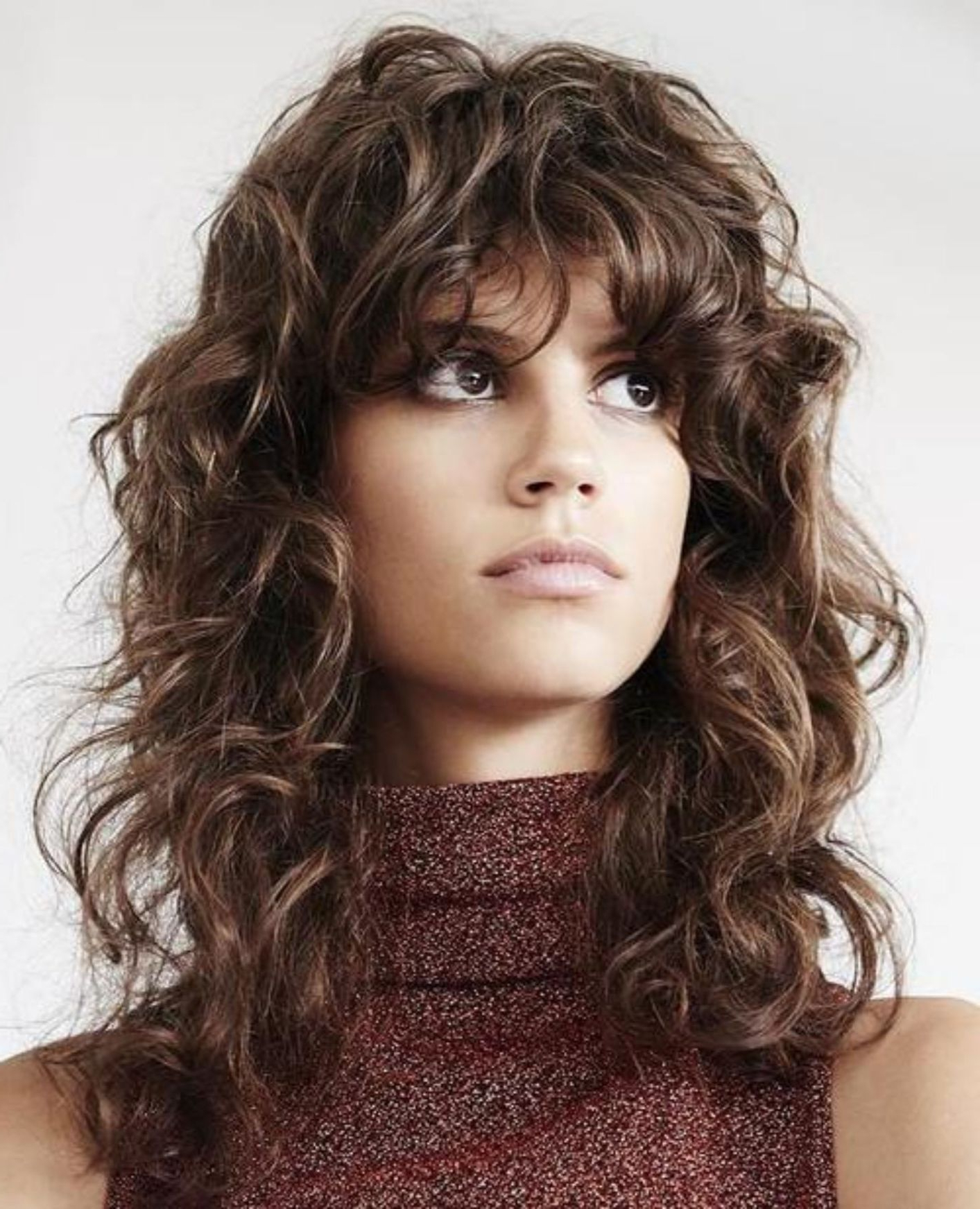 Featured Photo of Long Curly Shag Hairstyles With Bangs