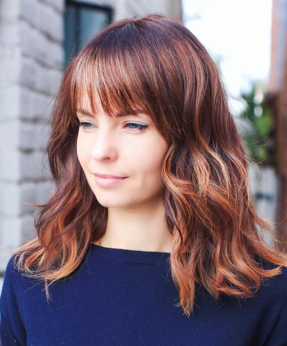 Most Popular Medium Brunette Shag Haircuts With Thick Bangs Regarding 40 Medium Length Hairstyles For Thick Hair ⋆ Palau Oceans (View 10 of 20)