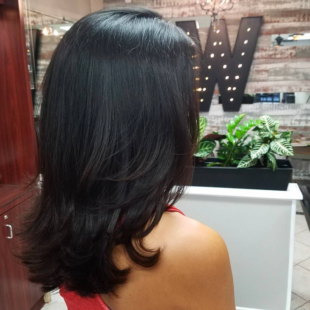Most Popular Medium Layered Black Hairstyles With Pin On Hair Lengths (View 13 of 20)