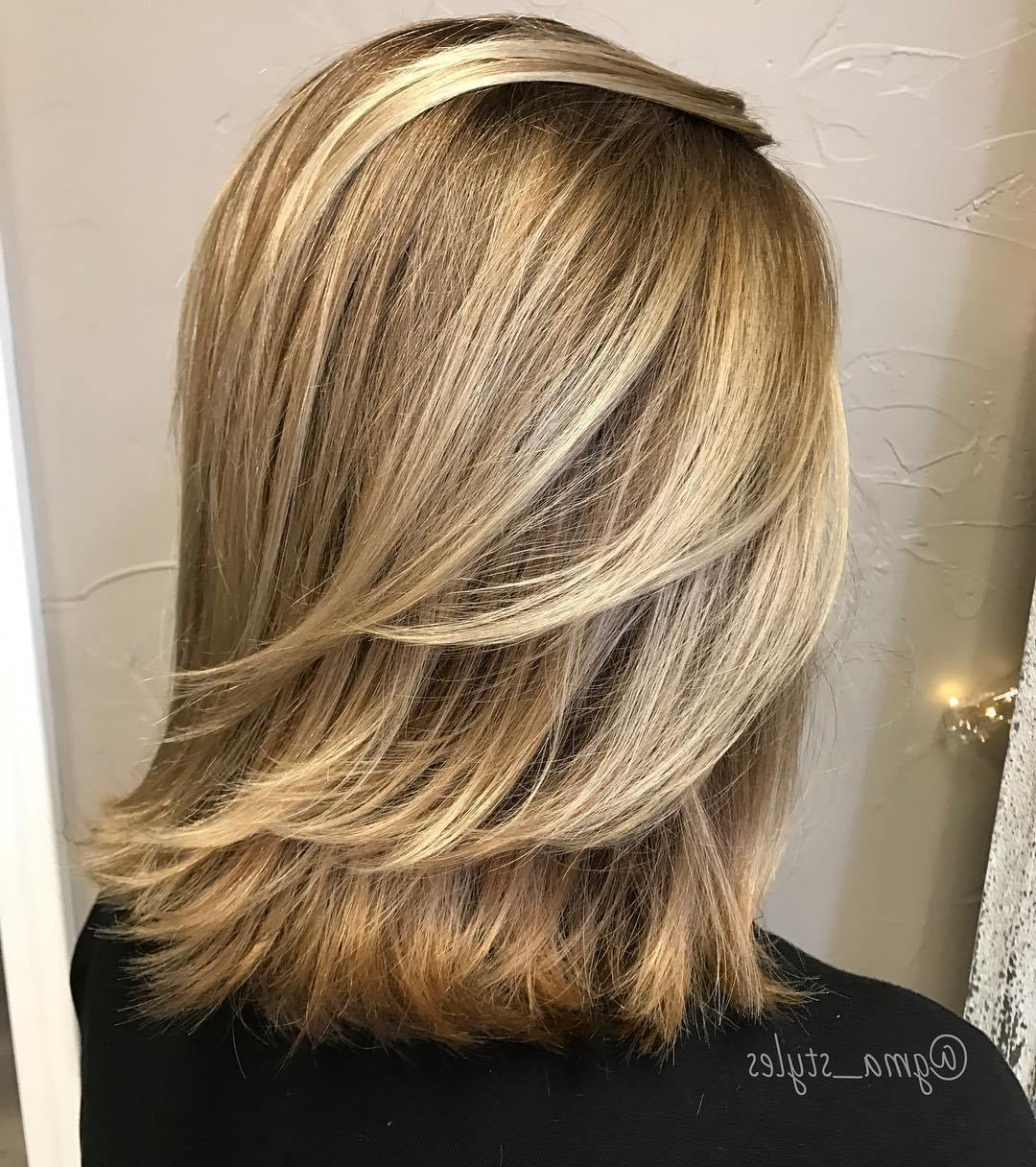 Most Up To Date Golden Bronde Sliced Bob Hairstyles For 50 Fabulous Medium Length Layered Hairstyles – Hair Adviser (View 13 of 20)
