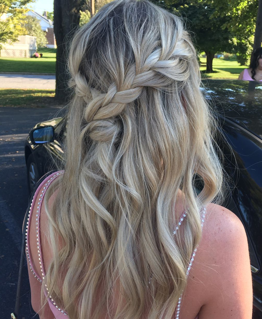 Most Up To Date Loose Shaggy Curls Hairstyles With Regard To Messy Braid Hairstyle Drained Half Up Down Bridesmaid Bridal (View 3 of 20)