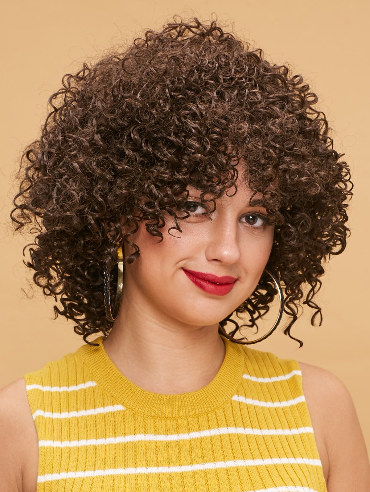 Most Up To Date Shaggy Chestnut Medium Length Hairstyles Inside Medium Inclined Bang Shaggy Kinky Curly Synthetic Wig (View 13 of 20)
