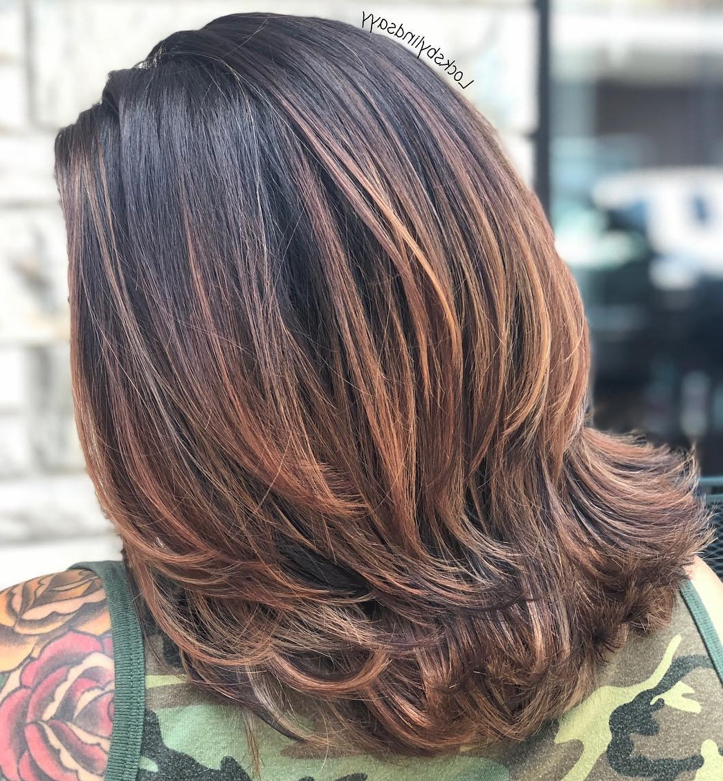 Must Try Medium Length Layered Haircuts For 2019 Pertaining To 2018 Dynamic Feathered Brunette Shag Haircuts (View 9 of 20)