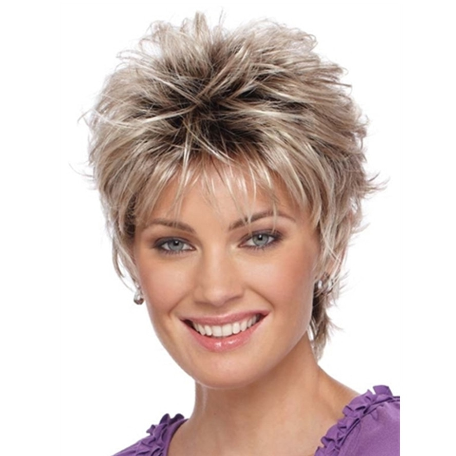 Natural Blonde Mix Wig Short Layered Shag Hairstyles High In Famous Blonde Shag Haircuts With Layers (View 18 of 20)