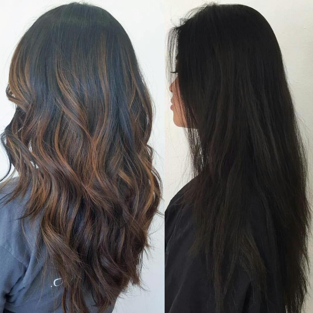 Newest Long Black Haircuts With Light Flipped Up Ends Intended For Before & After: Subtle Brown Balayage Highlights On Black (View 8 of 20)