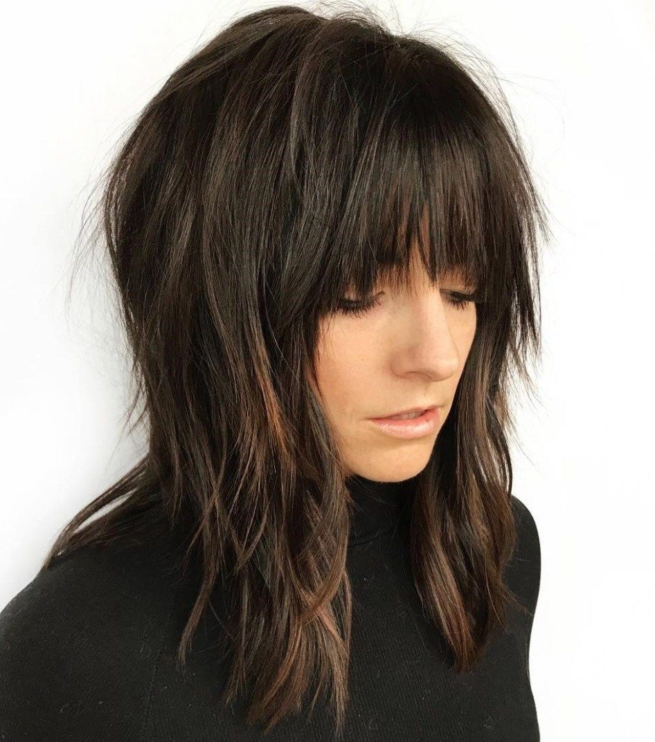 Pin On Beauty Regarding Most Up To Date Elongated Razored Straight Shag Haircuts With Bangs (Gallery 1 of 20)