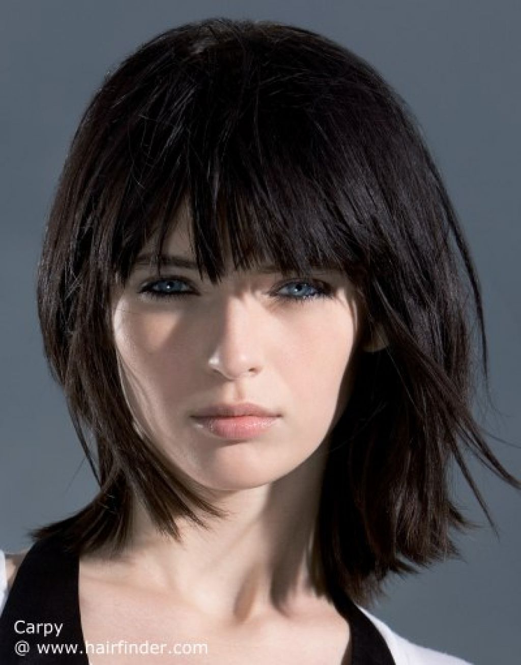 Pin On Blunt Bangs And Straight Slight Tapered Ends Throughout Side Parted Bob Hairstyles With Textured Ends (Gallery 12 of 20)