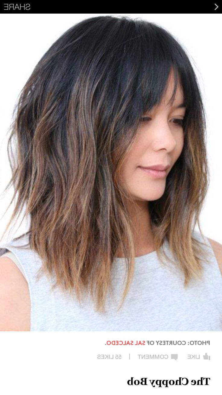 Pin On Brunettes For Well Liked Medium To Long Choppy Haircuts With Bangs (Gallery 14 of 20)