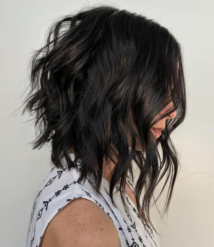 Pin On Cosmetology Within Fashionable Black Angled Bob Hairstyles With Shaggy Layers (View 2 of 20)