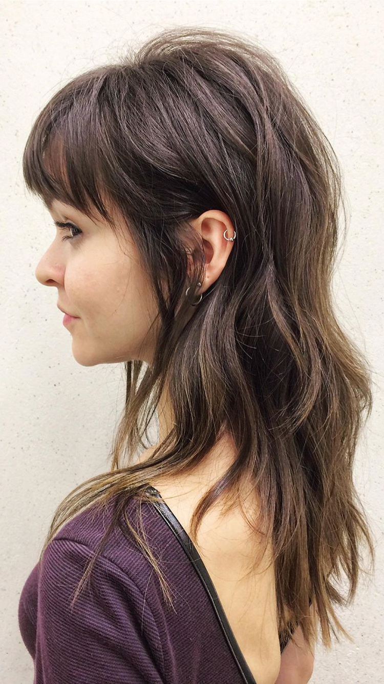 Featured Photo of Long Wispy Brunette Shag Haircuts