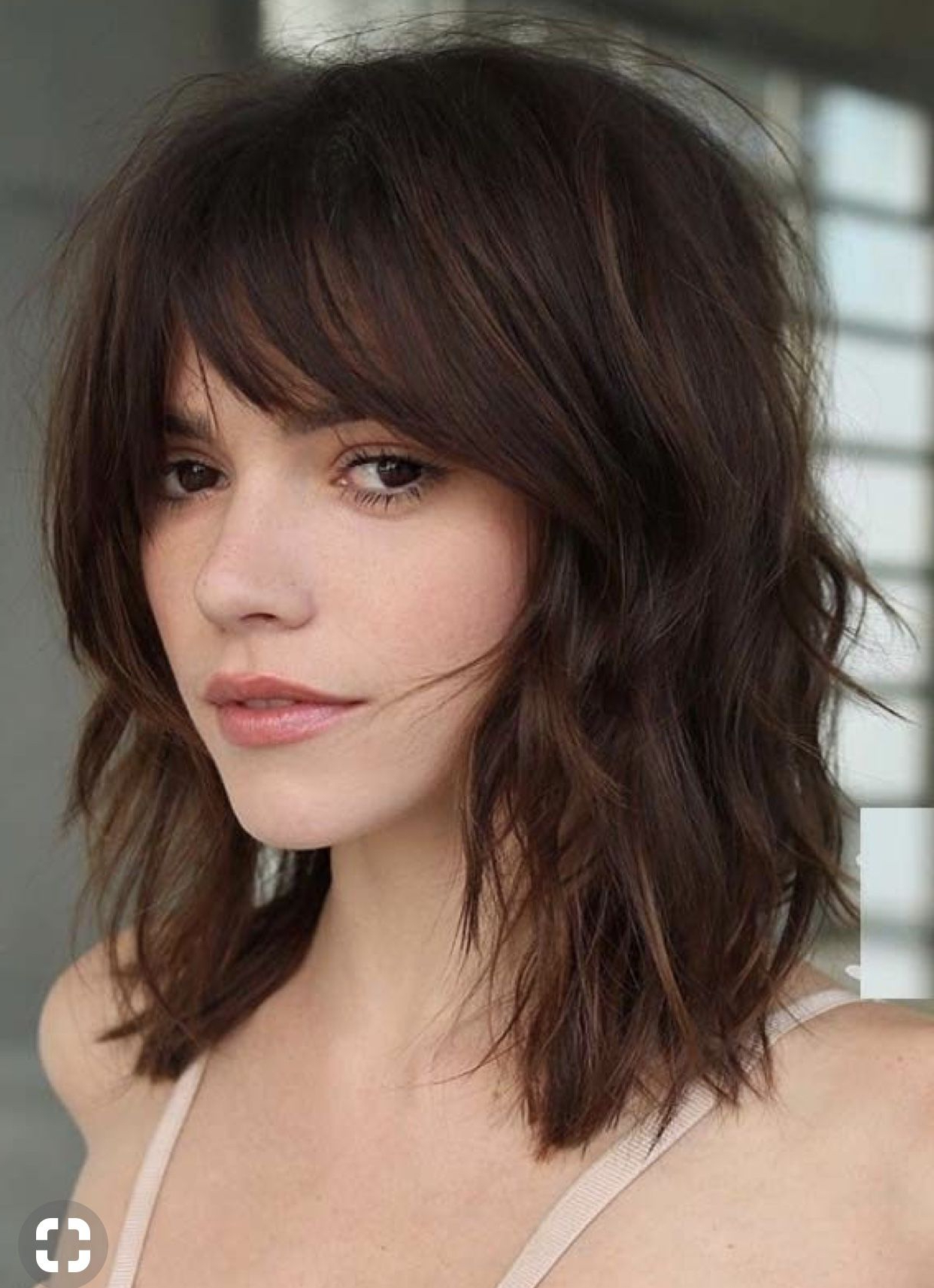Pin On Hair And Beauty Within 2018 Medium Brunette Shag Haircuts With Thick Bangs (View 4 of 20)