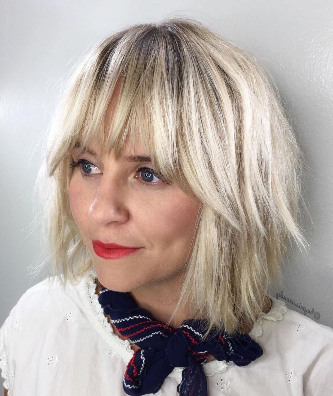 Pin On Hair Ideas Intended For Short Chopped Bob Hairstyles With Straight Bangs (View 16 of 20)