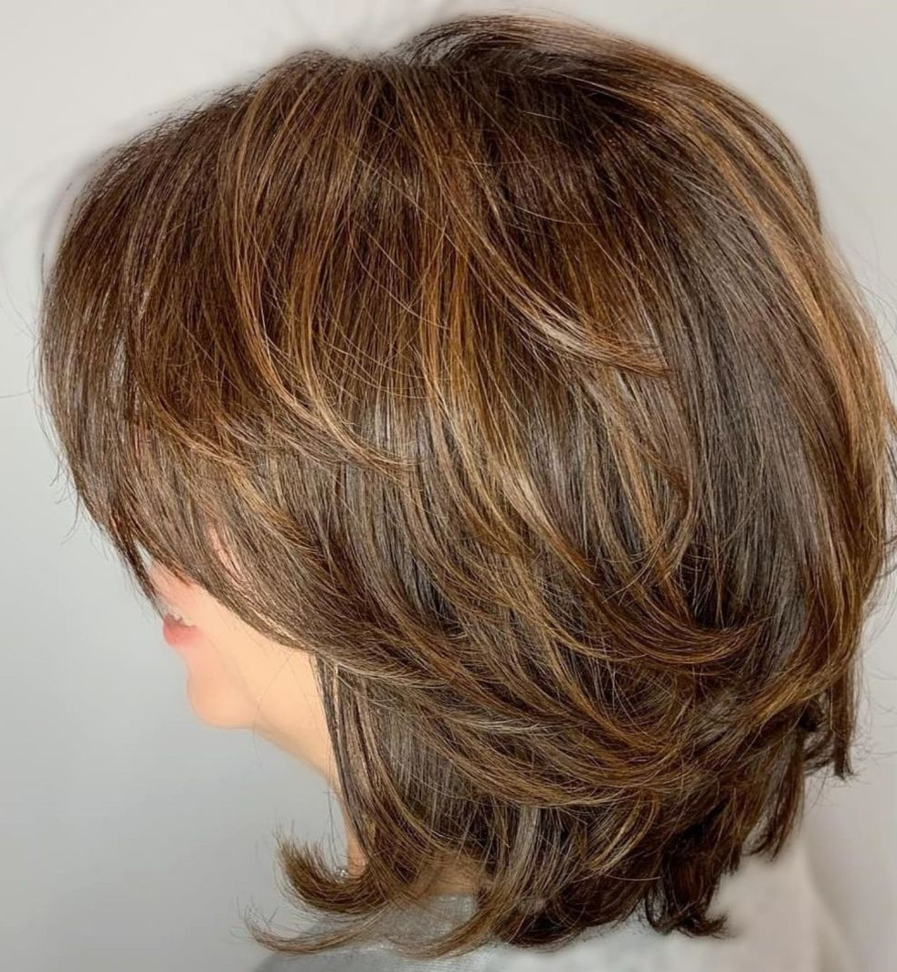 Featured Photo of Feathered Golden Brown Bob Hairstyles