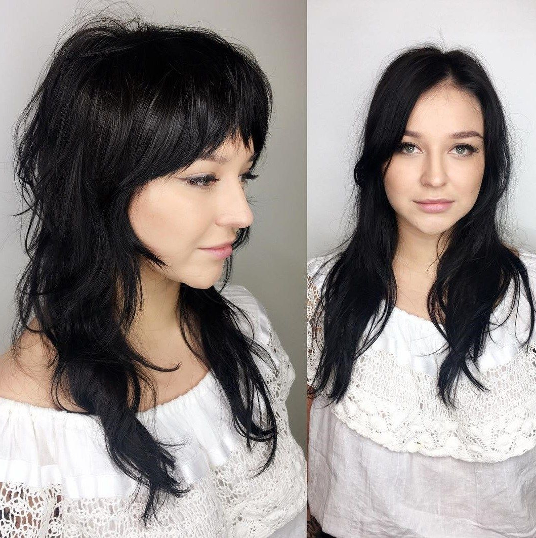 Pin On Hair !! With Newest Razored Black Shag Haircuts With Bangs (Gallery 4 of 20)