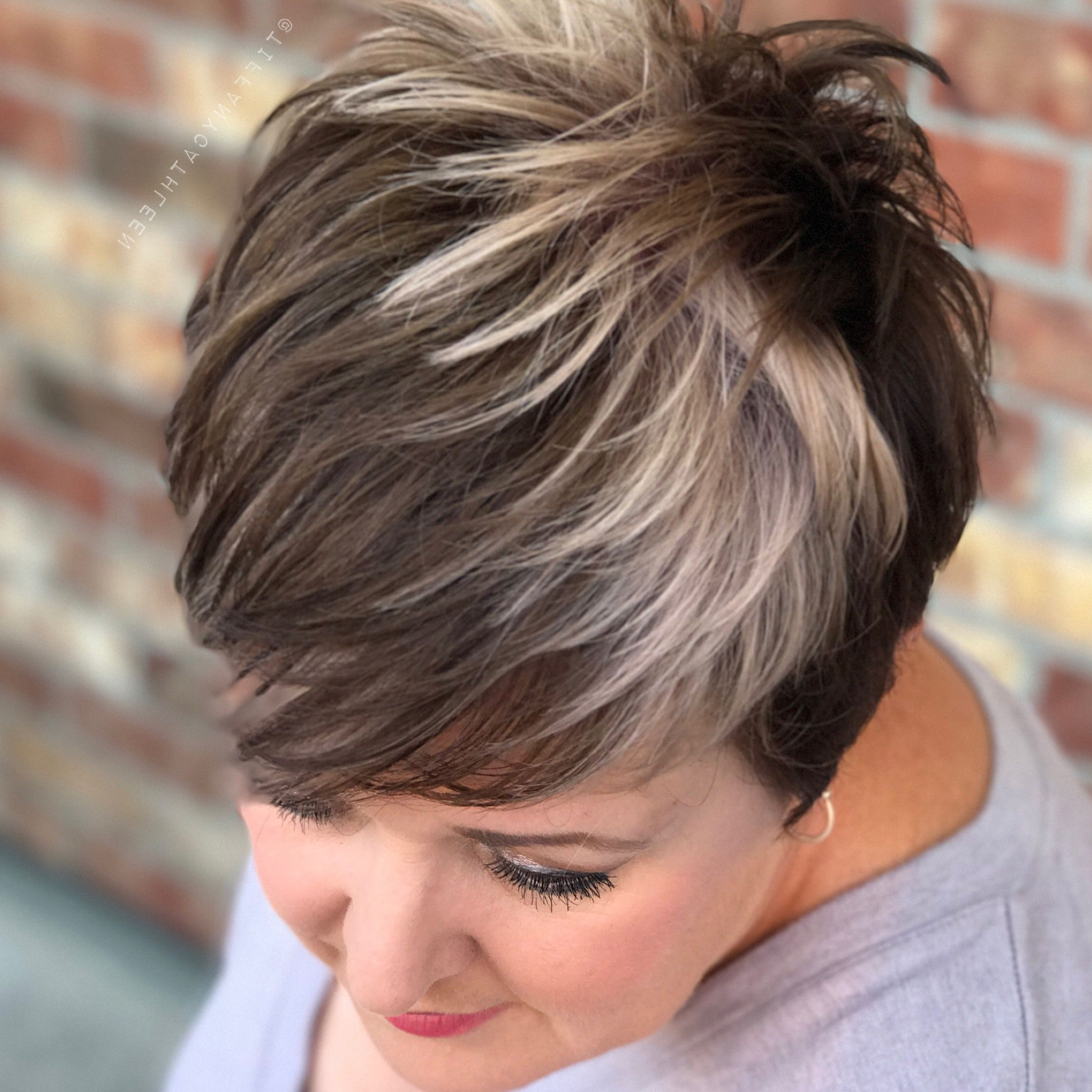 Pin On My Hairstyles Regarding Long Pixie Haircuts With Sharp Layers And Highlights (View 6 of 20)