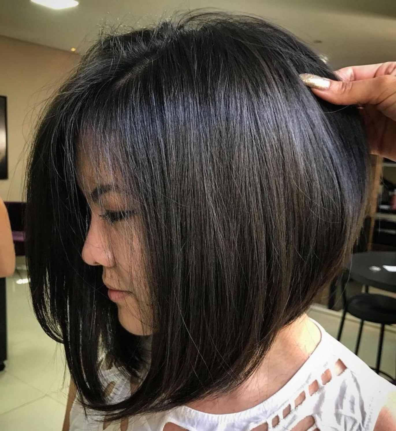 Pin On My Style Inside A Line Bob Hairstyles With Arched Bangs (View 2 of 20)