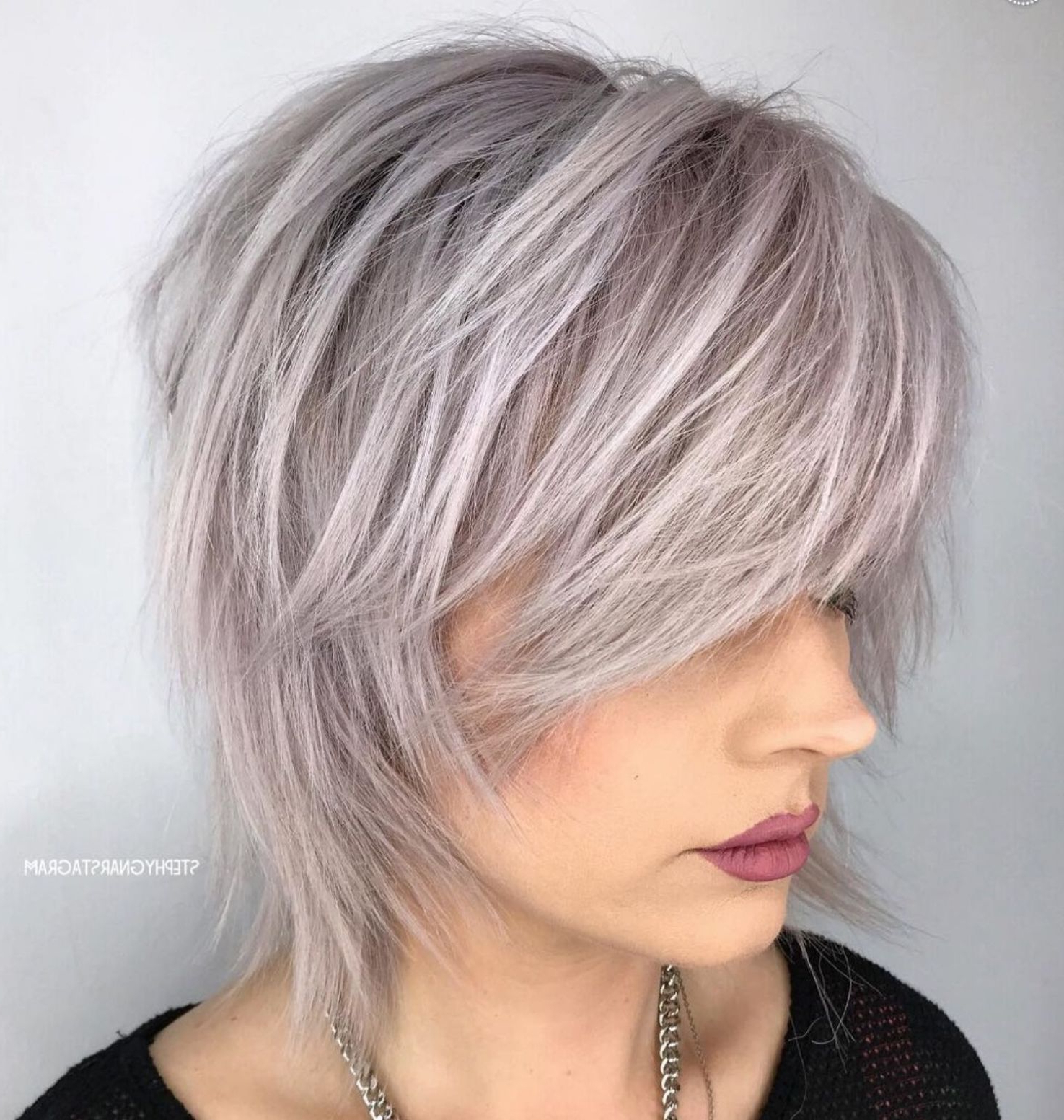 Featured Photo of Short To Medium Shattered Gray Shag Haircuts