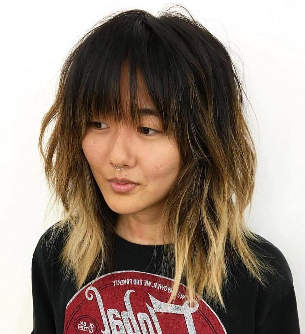 Popular Black Shag Haircuts With Feathered Bangs Regarding The Most Instagrammable Hairstyles With Bangs In (View 15 of 20)