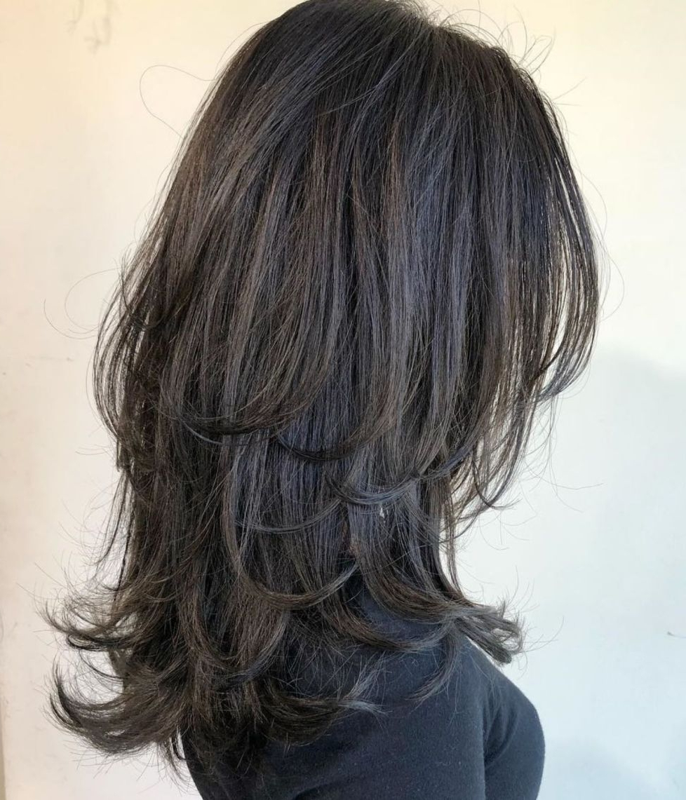 Popular Long Black Haircuts With Light Flipped Up Ends With Regard To 60 Lovely Long Shag Haircuts For Effortless Stylish Looks In (Gallery 1 of 20)