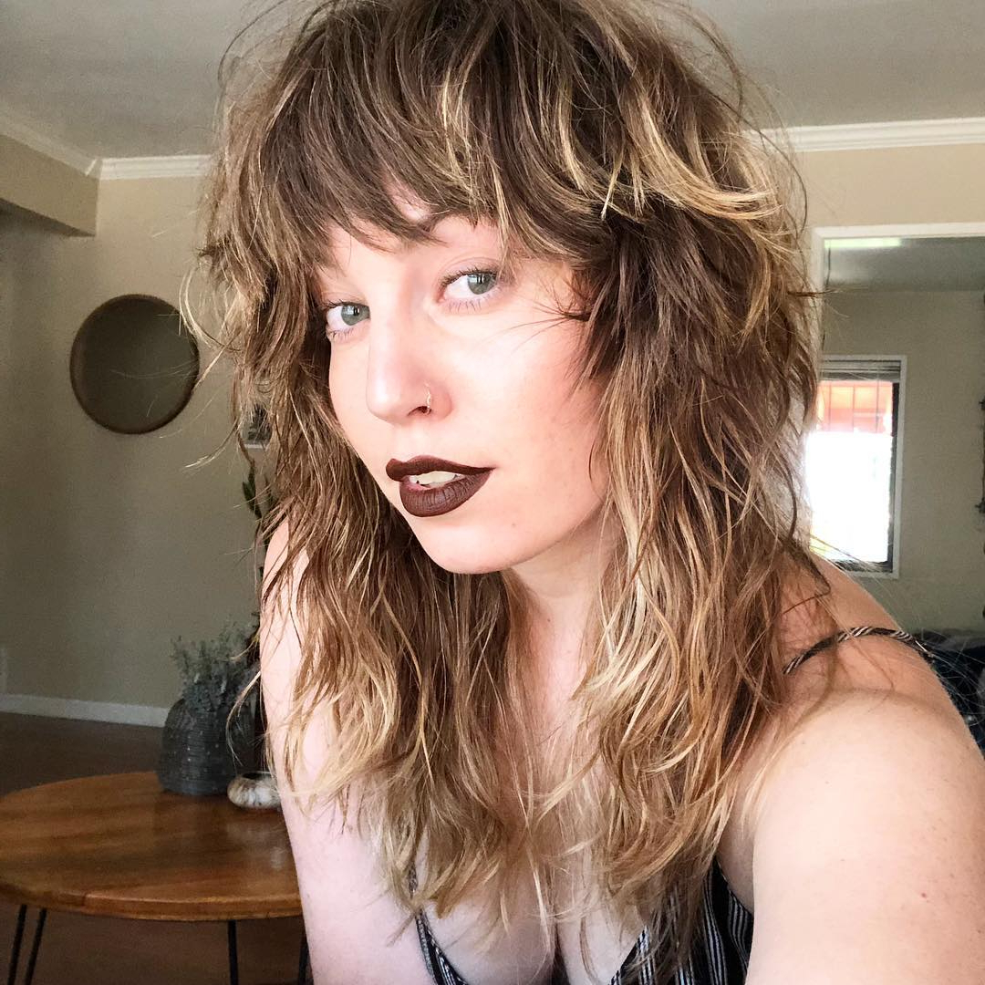 Popular Long Curly Blonde Shag Haircuts With Bangs Throughout 125 Coolest Shag Haircuts For All Ages – Prochronism (View 17 of 20)