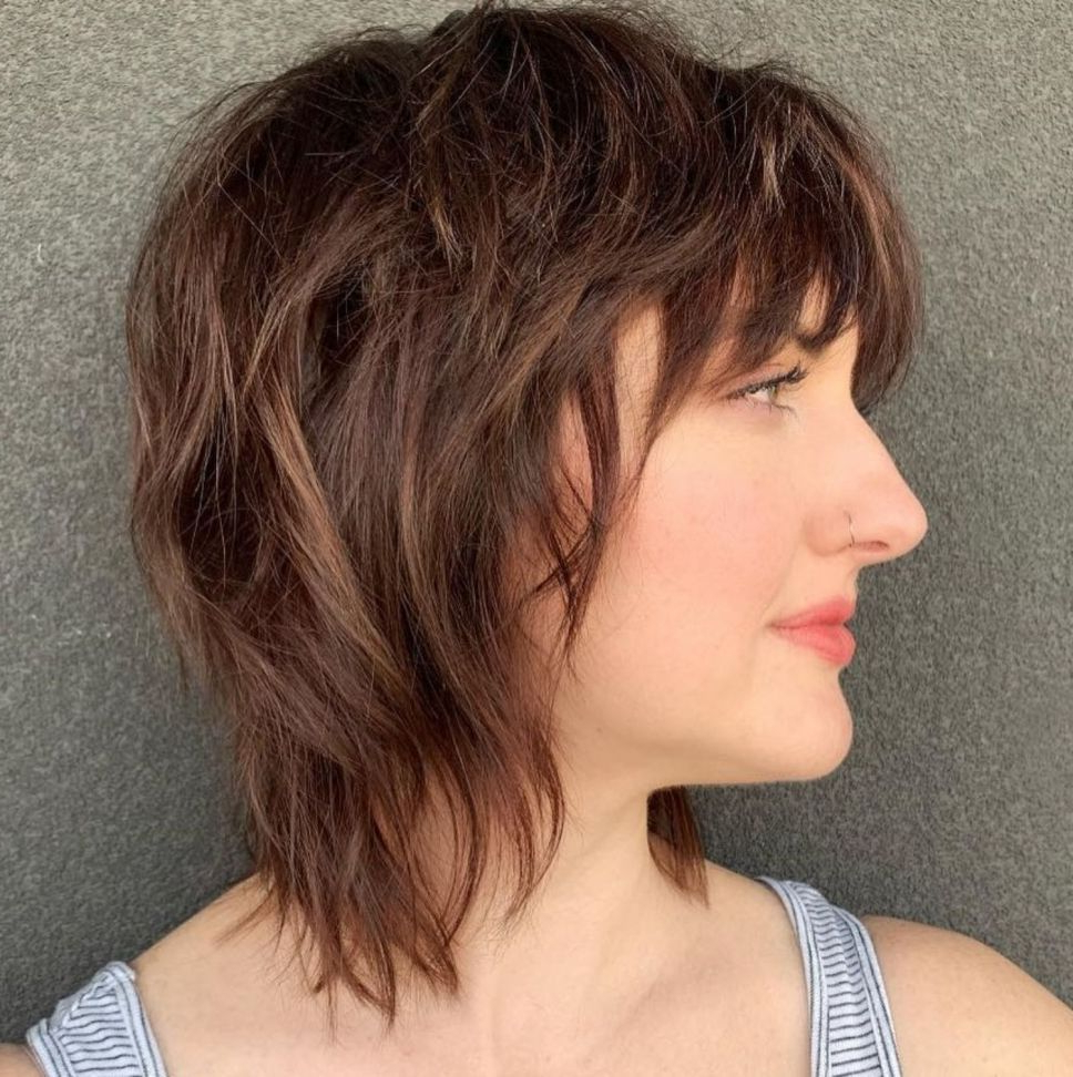 Preferred Razored Shaggy Chocolate And Caramel Bob Hairstyles With Pin On Hair Styles (View 6 of 20)