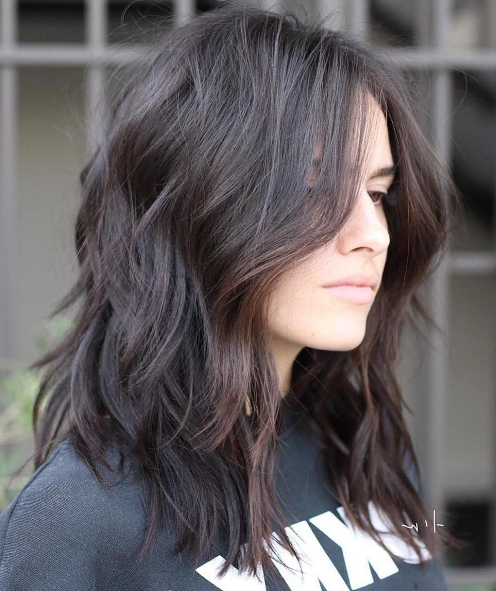 Recent Brunette Layers Shag Haircuts With Centre Part Throughout Pin On Hair (View 18 of 20)
