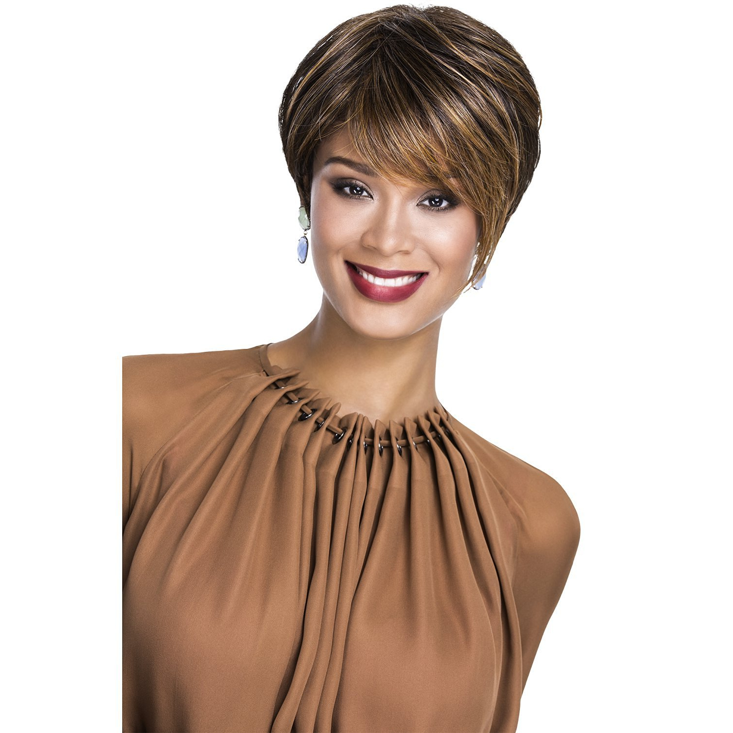 Recent Feathered Golden Brown Haircuts Pertaining To Buy Golden Brown Auburn Highlights Feathered Pixie Wig In (View 16 of 20)