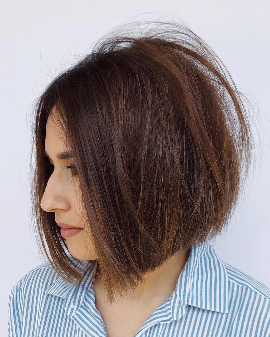 Shaggy Chestnut Brown Bob For Straight Hair In 2019 Within Current Chestnut Brown Choppy Lob Hairstyles (View 17 of 20)