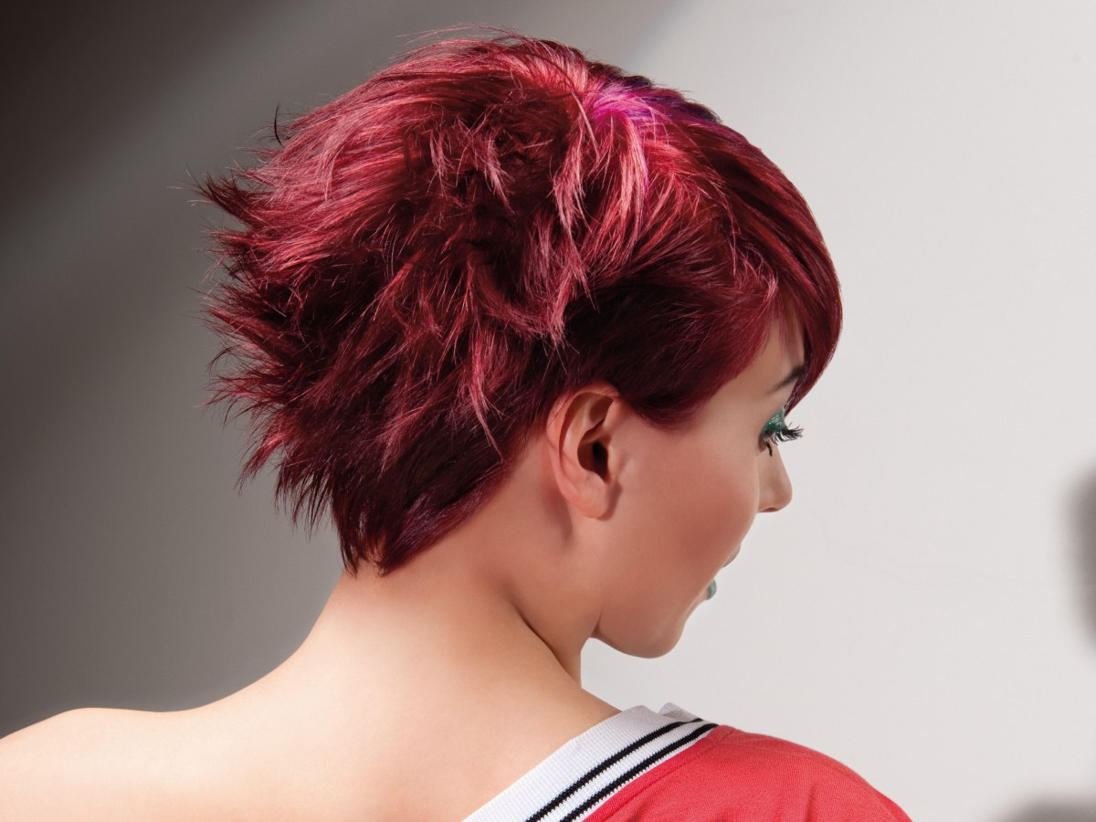 Short And Medium Long Hairstyles With Radiant Colors For Men Throughout Sunset Inspired Pixie Bob Hairstyles With Nape Undercut (View 8 of 20)