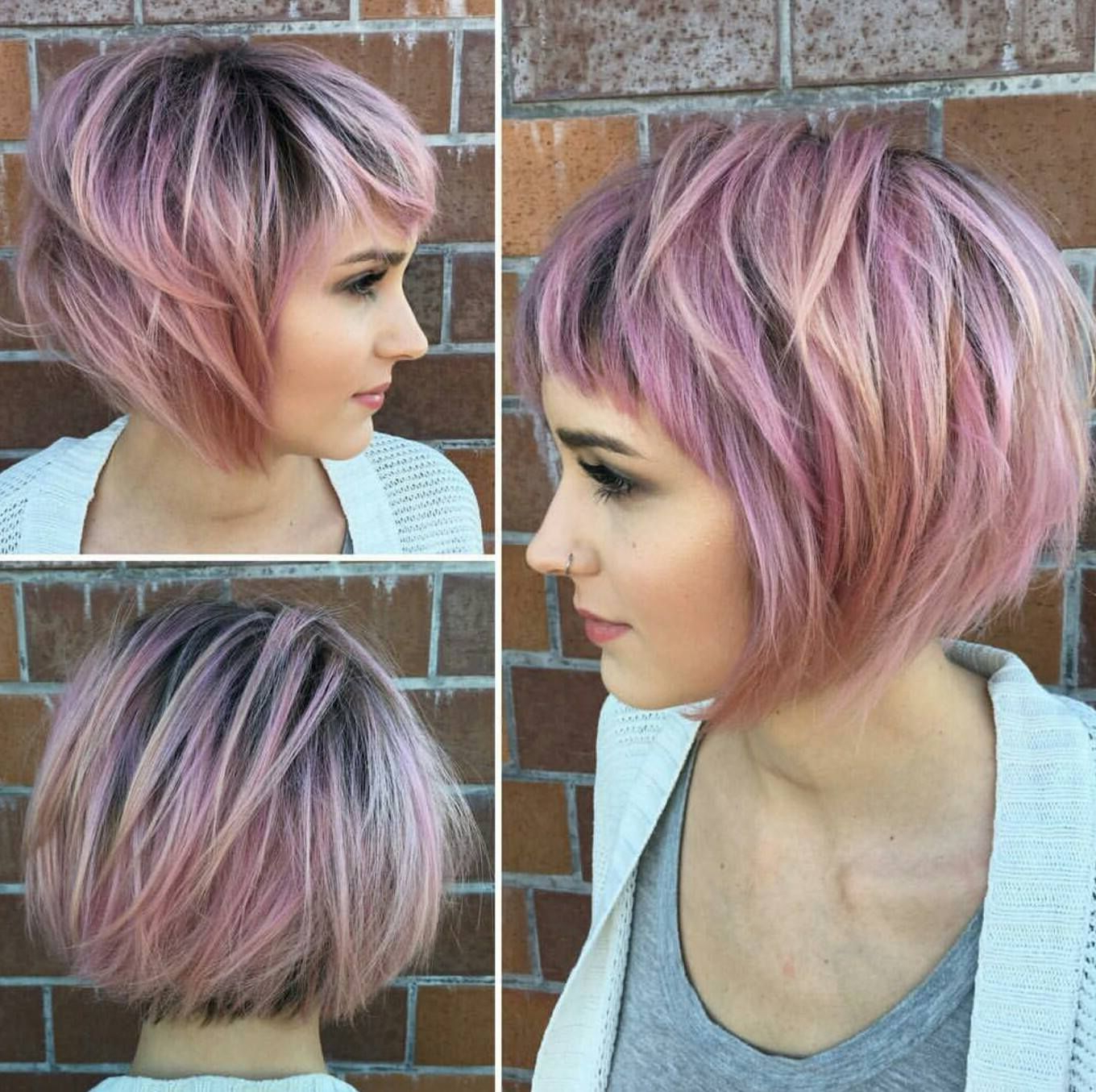 Short Hair With Newest Marvelous Mauve Shaggy Bob Hairstyles (View 3 of 20)