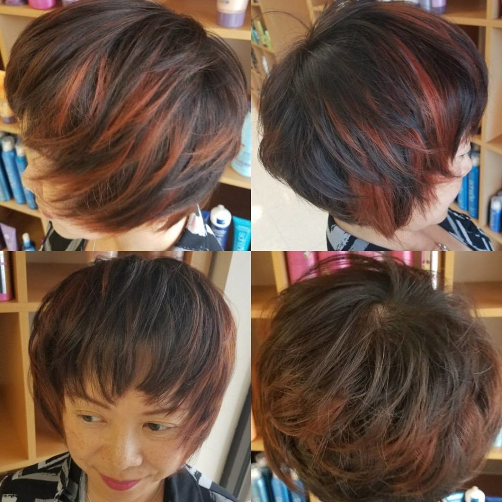 Short Shaggy Page Boy On Brunette Hair With Red Highlights Throughout Short Shaggy Brunette Bob Hairstyles (View 18 of 20)