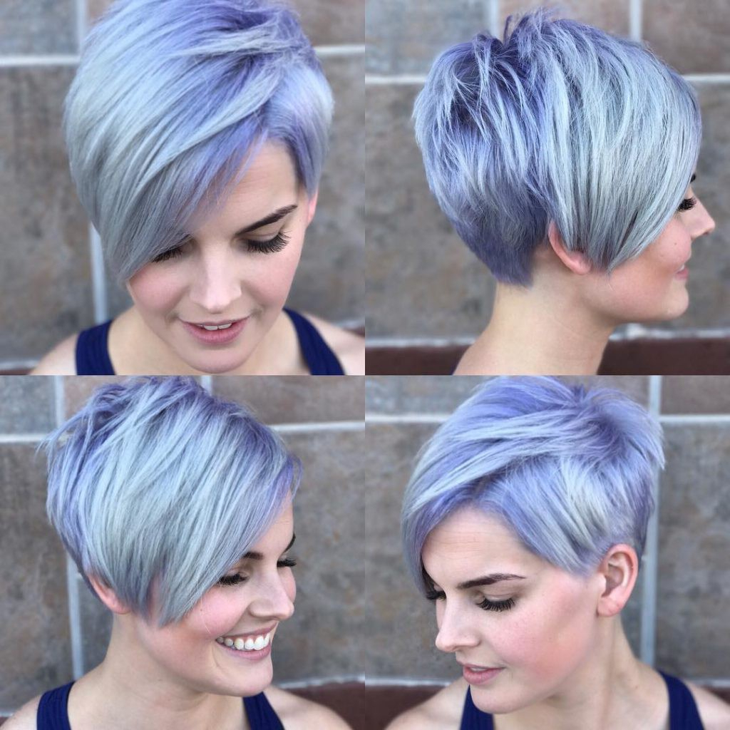 Silver Asymmetrical Pixie With Side Swept Bangs And Purple Pertaining To Asymmetrical Side Sweep Hairstyles (View 7 of 20)