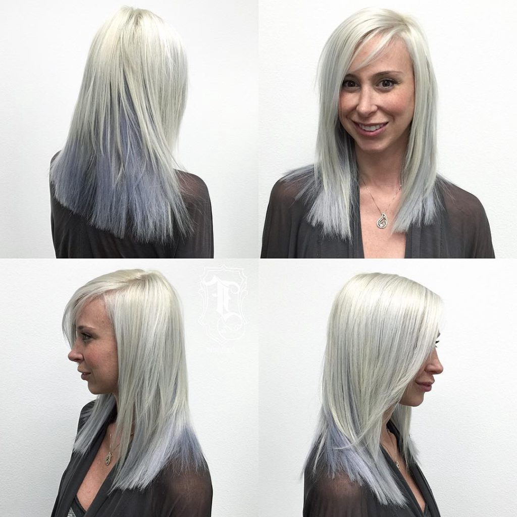 Silver Two Toned Layered Cut With Clean Blunt Lines And Side Throughout Well Known Medium Silver Layers Hairstyles (View 3 of 20)