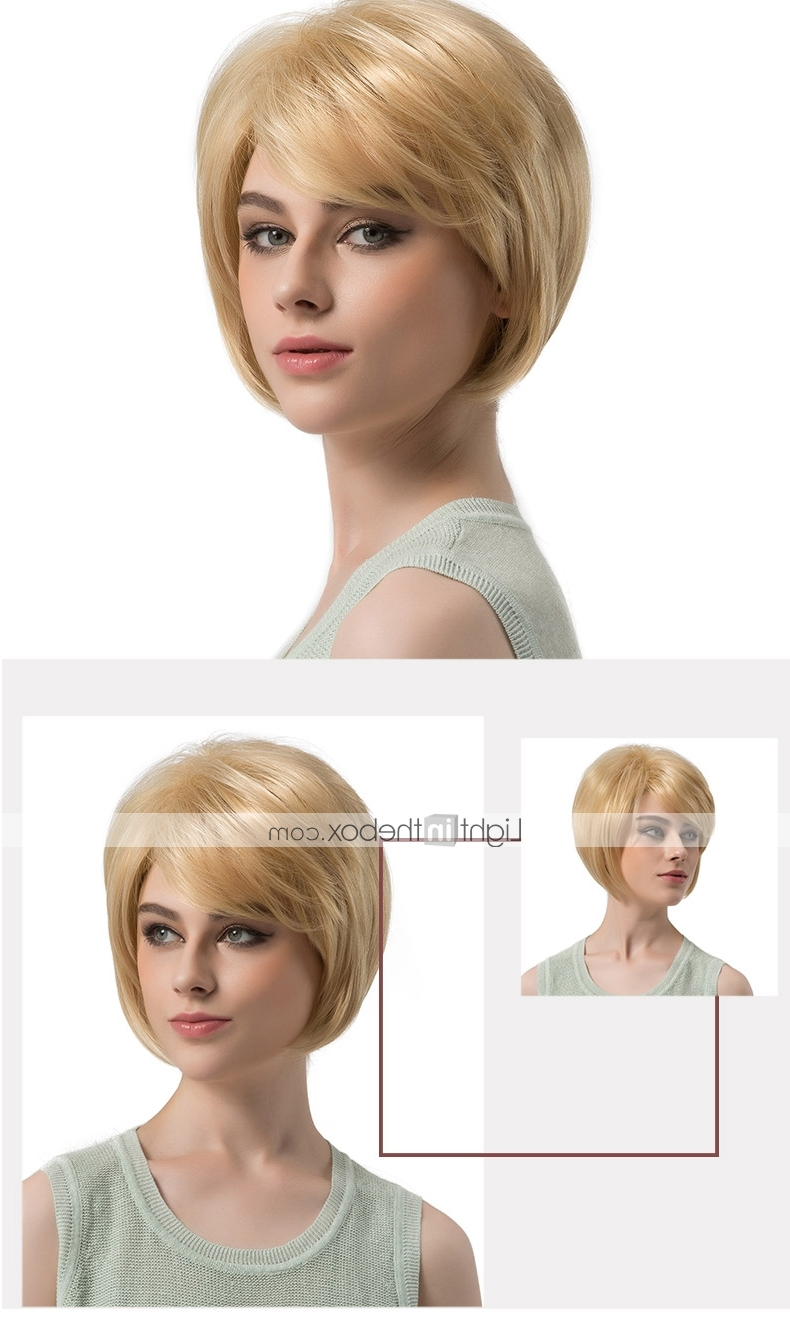 Synthetic Wig Straight Blonde Bob / Layered Haircut Regarding Most Recent Strawberry Blonde Bob Hairstyles With Flipped Ends (View 14 of 20)