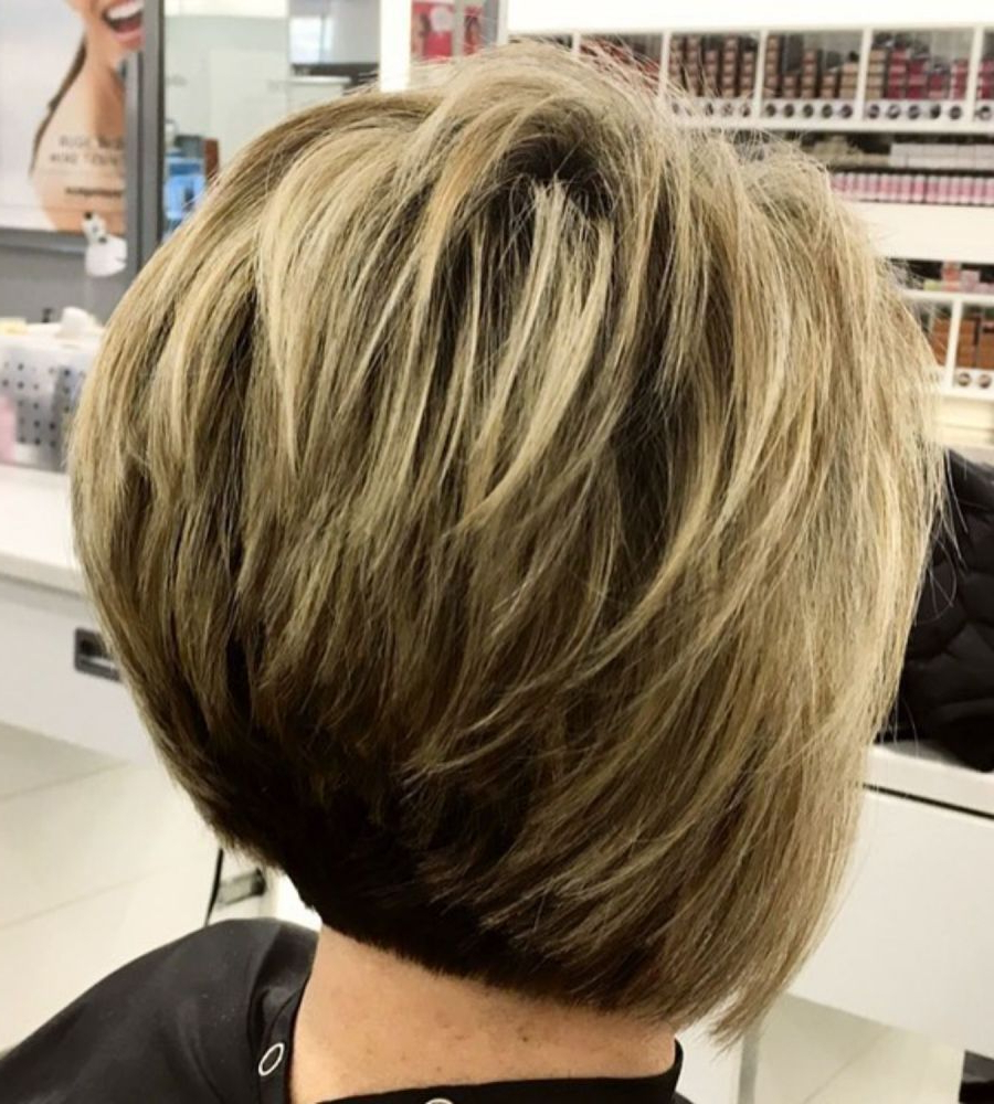 The Full Stack: 50 Hottest Stacked Haircuts In 2019 | Hair Regarding Two Tone Feathered Pixie Haircuts (View 3 of 20)