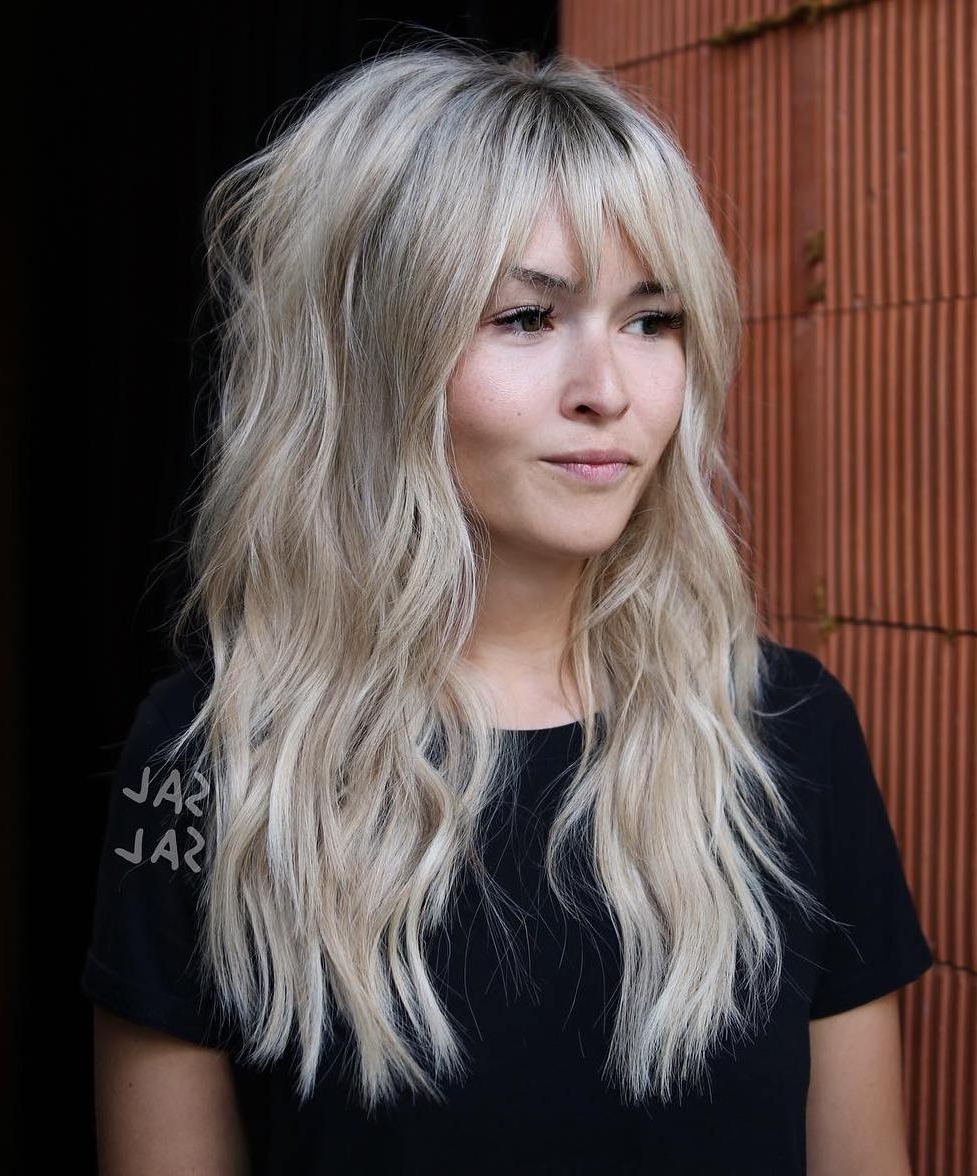 The Most Instagrammable Hairstyles With Bangs In 2019 For Widely Used Wispy Layered Blonde Haircuts With Bangs (View 9 of 20)
